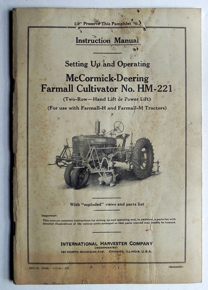 Details about Instruction Manual 1941 McCORMICK-DEERING FARMALL CULTIVATOR  HM-221