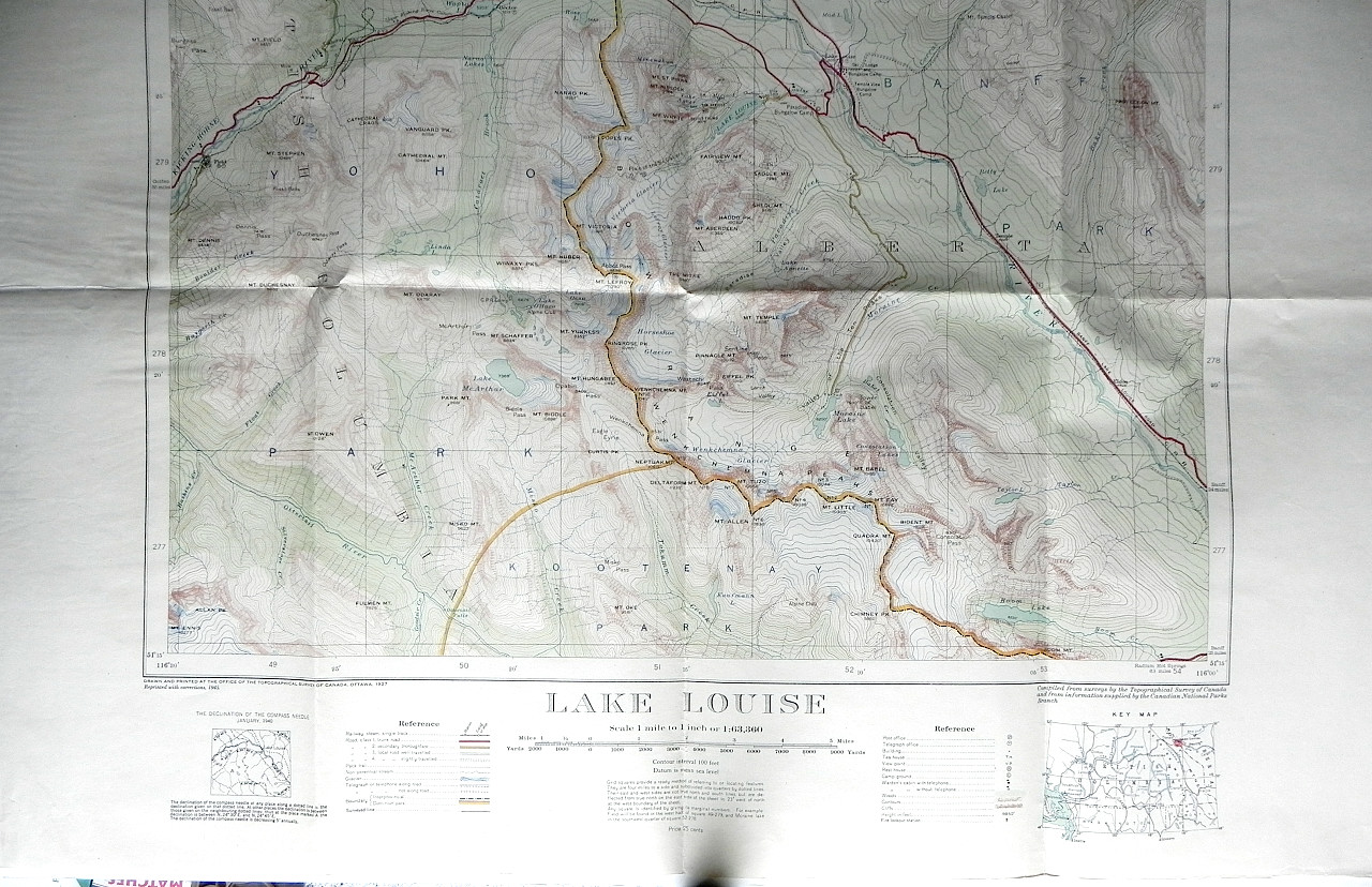 1945 TOPOGRAPHICAL MAP LAKE LOUISE ALBERTA CANADA Dept Mines ...